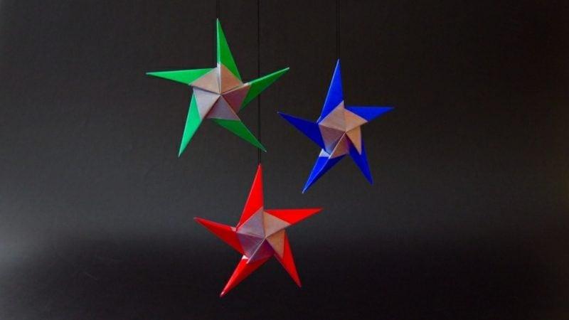 Origami Weihnachten tolle Sterne aus Glanzpapier