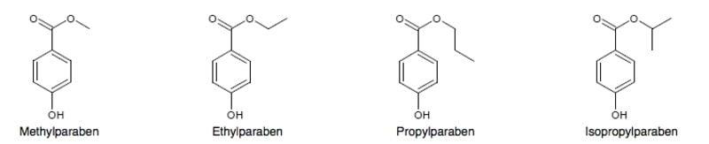 Parabene chemische Struktur Ehylparaben Propylparaben