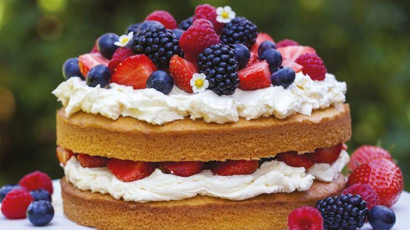 Sallys Torten naked Cake mit frischen Früchten