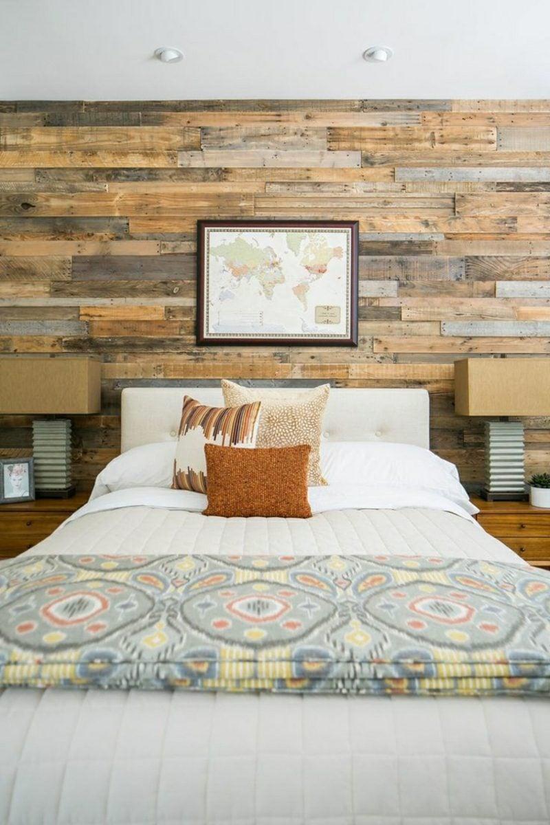 Schlafzimmer moderne Einrichtung Akzentwand Holz