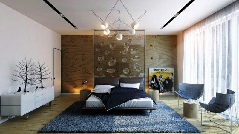 Zimmer einrichten Schlafzimmer originelle Glaswand