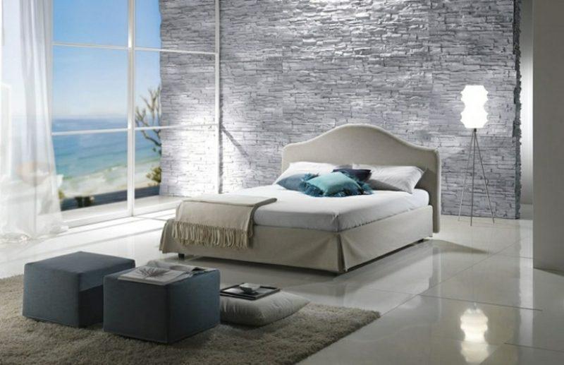 Schlafzimmer gestalten Bodenbelag Fliesen natursteinwand