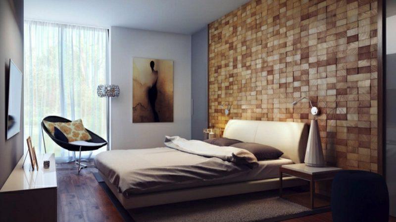 moderne Schlafzimmer Wanddeko Bild bequemes Bett