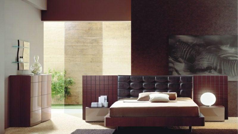Schlafzimmer Ideen farbgestaltung Burgunderrot Braun