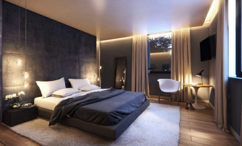 Schlafzimmer gestalten modernes Interieur indirekte Beleuchtung