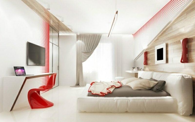 Schlafzimmer Ideen Wandgestaltung Akzente in Rot