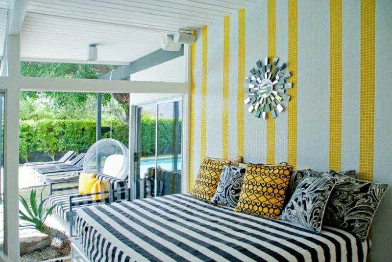 Wohnideen Schlafzimmer moderne Einrichtung Streifenmuster als Akzent