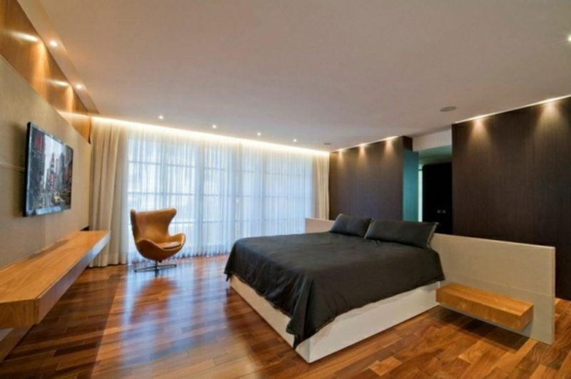 Schlafzimmer gestalten Bodenbelag Parkett LED Beleuchtung