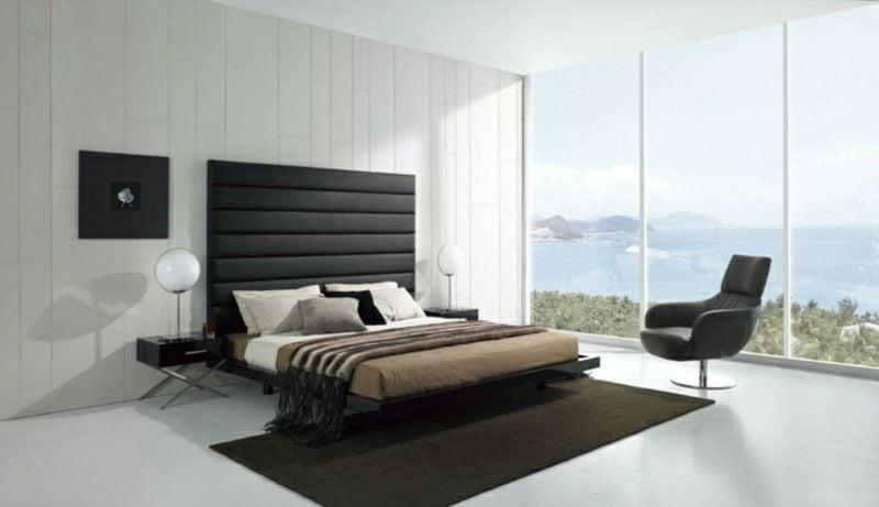 SWchlafzimmer modern neutrale Farbgestaltung Polsterbett