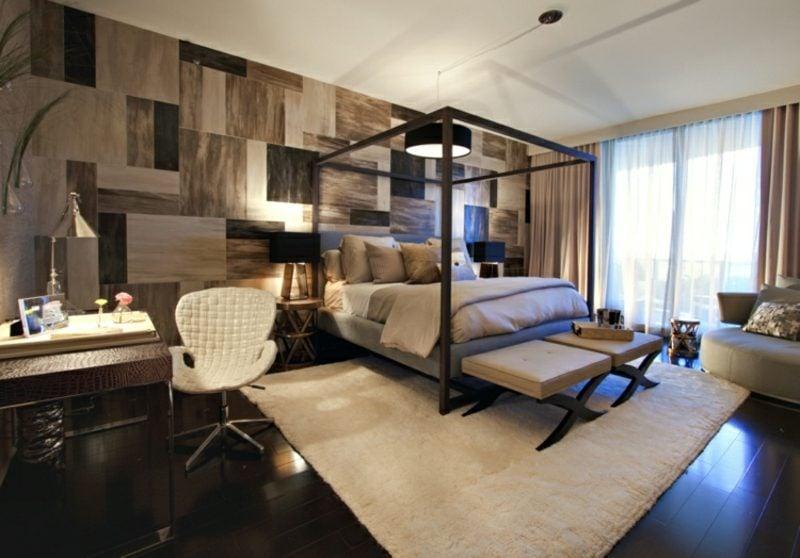 Zimmer einrichten Schlafzimmer modern Bett Rahmen Akzentwand