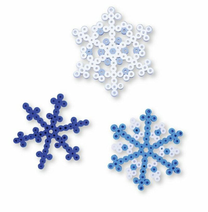 Bügelperlen Vorlagen Weihnachten tolle Bastelideen Schneeflocken