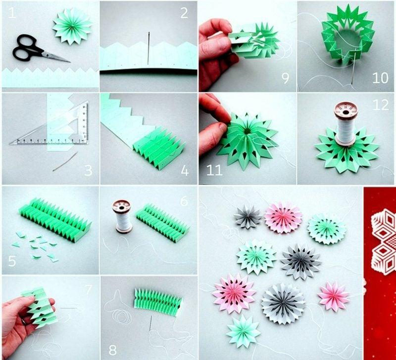 Origami Weihnachten DIY Schneeflocken