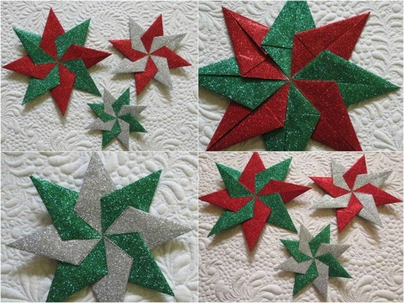 Origami Weihnachten DIY Sterne aus Glanzpapier