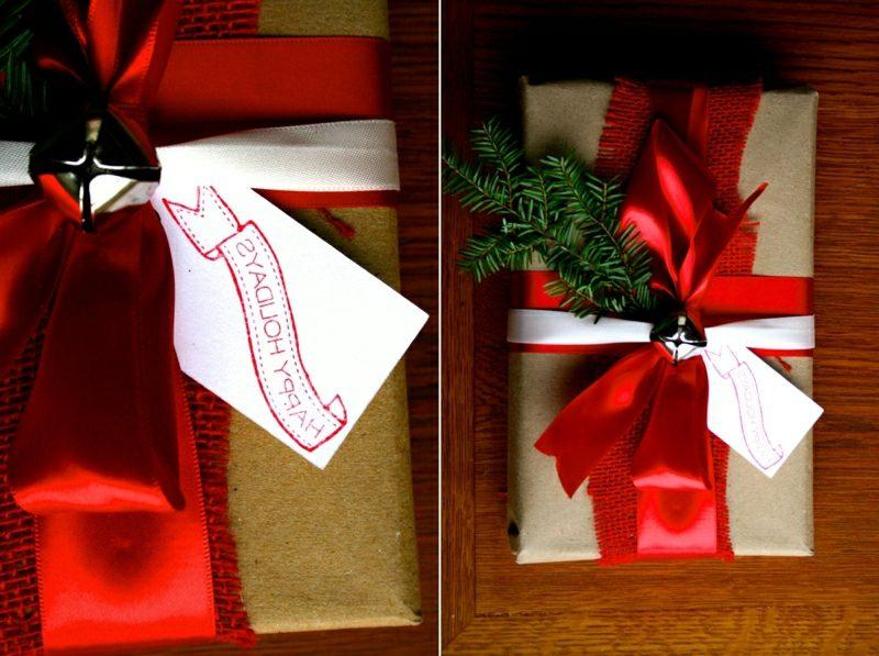 Geschenke verpacken Weihnachten rote Schleife