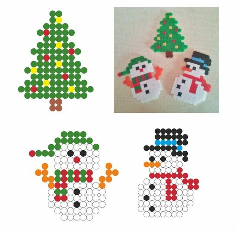 Bügelperlen Vorlagen Weihnachten Schneemann Weihnachtsbaum