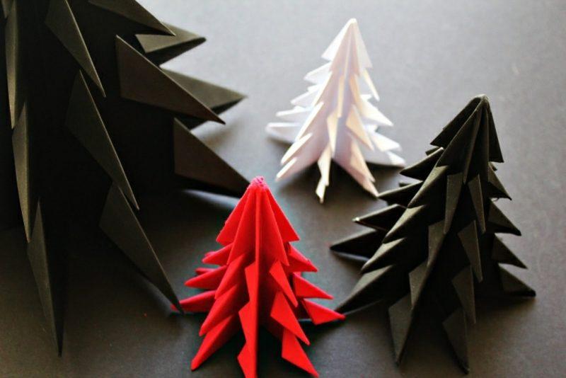Origami Weihnachten DIY Ideen Tannenbaum