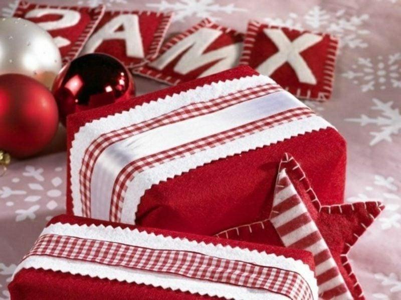 Geschenke verpacken Weihnachten Filz