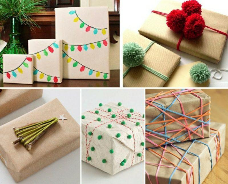 Geschenke verpacken Weihnachten originelle Ideen zum Nachmachen