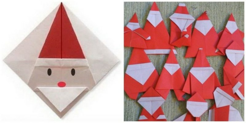 Origami Weihnachten kreative Ideen Weihnachtsmann