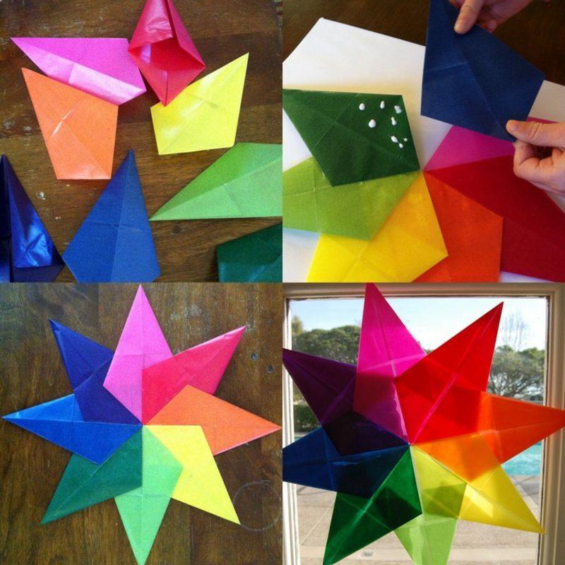 Origami Weihnachten Sterne Fensterdeko