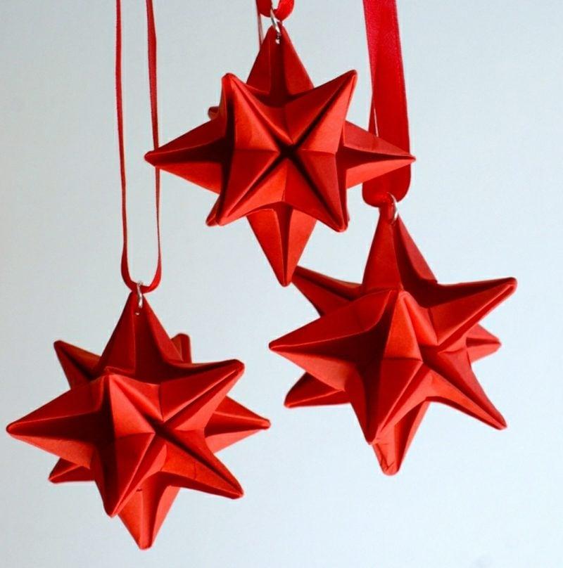 Origami Weihnachten herrliche Sterne rotes Papier