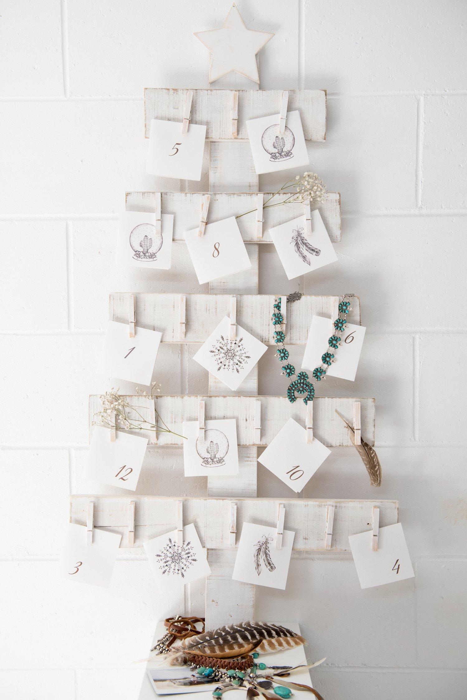 Adventskalender füllen - Weihnachtskarten statt Geschenke
