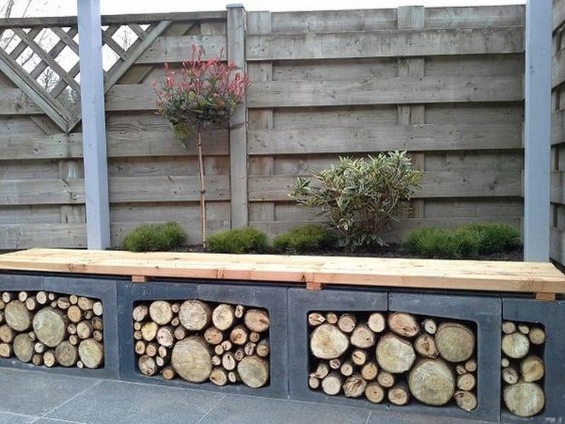 Kreative Brennholzlagerung für draußen