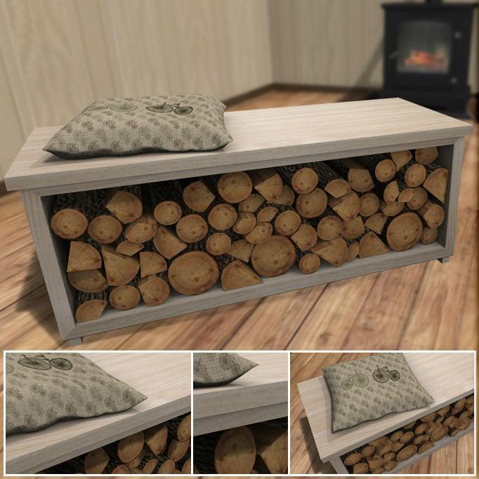 Mit dieser modernen Sitzbank können Sie im Innern das Holz trocknen!