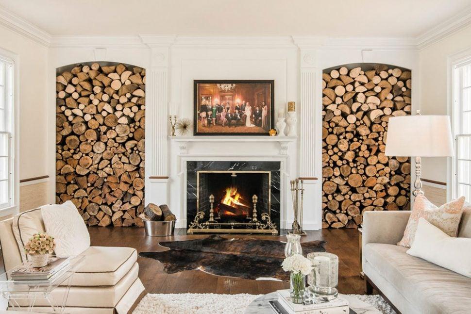 Eingebaute Regalen für Brennholzlagerung