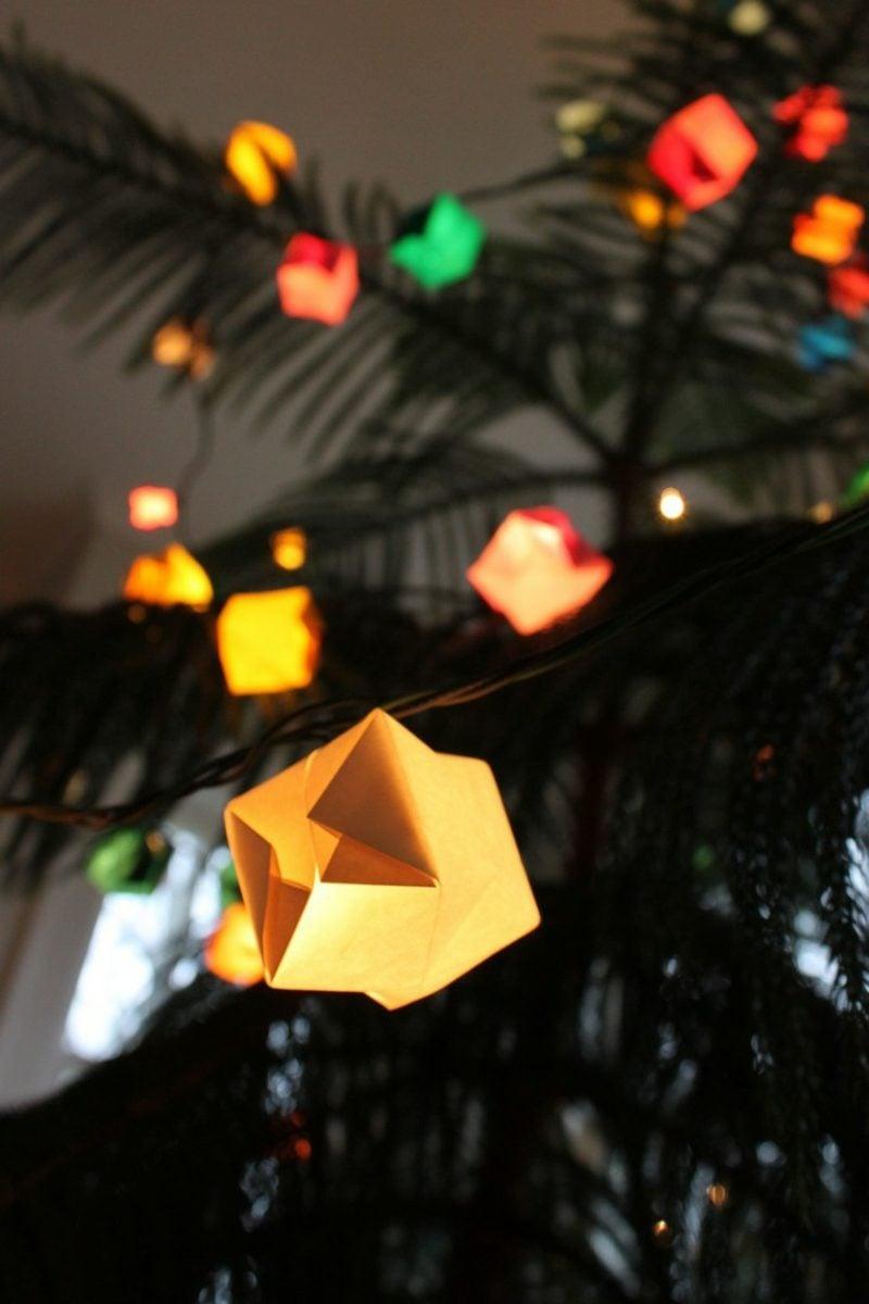 Origami Weihnachten Lichterketten dekorieren
