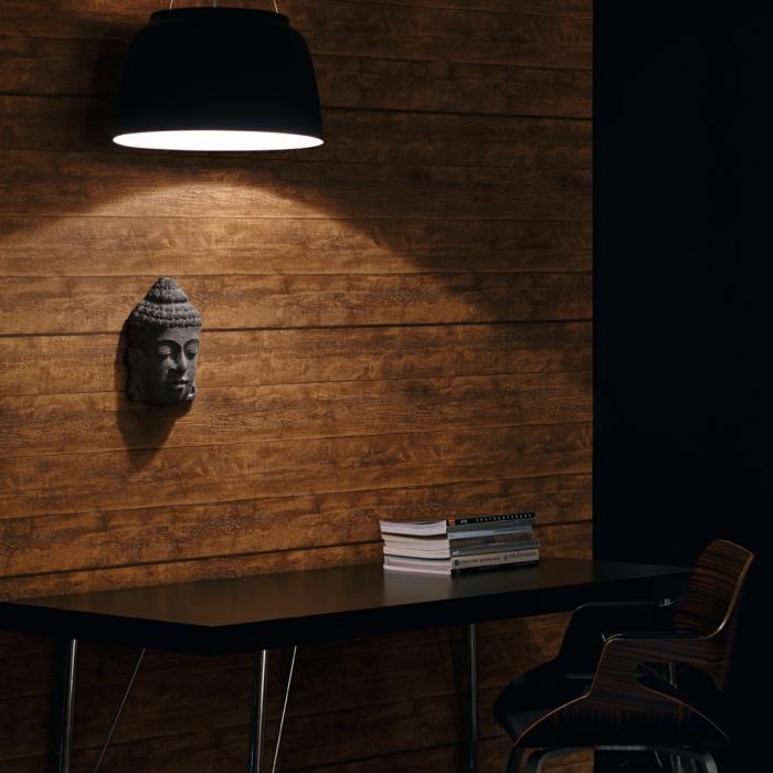 Tapeten mit Holzdesign, Möbel aus Massivholz, rustikale Gemütlichkeit im Arbeitszimmer