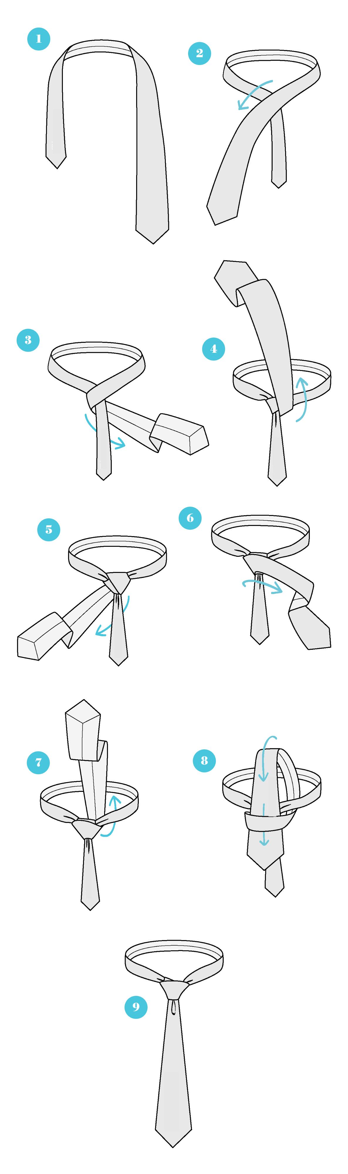 Wie binde ich eine Krawatte mit Half Windsor Knoten?