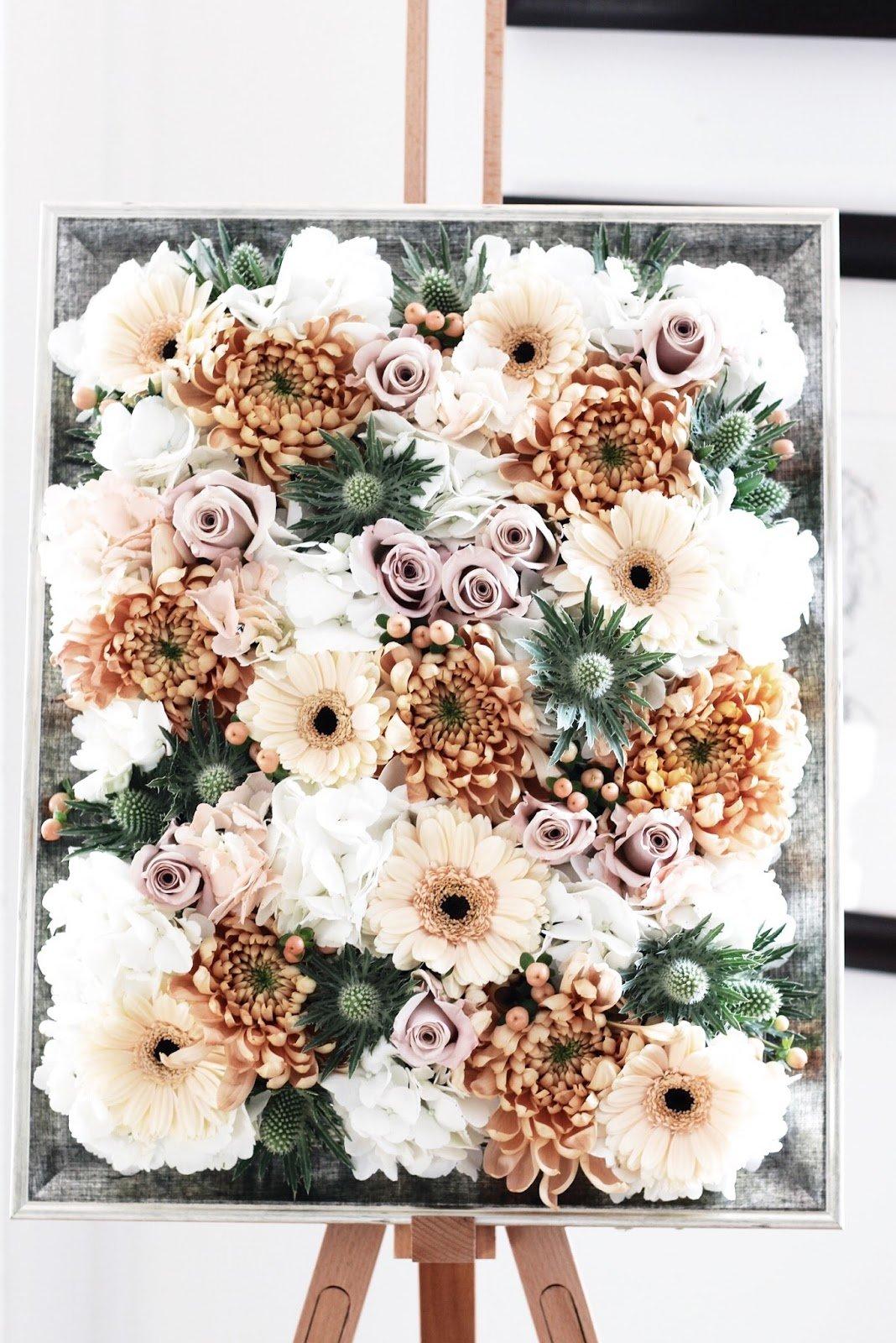 DIY Idee für selbstgemachten Bildrahmen mit künstlichen Blumen