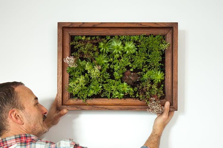 DIY Idee für selbstgemachten Bildrahmen mit frischen Blumen