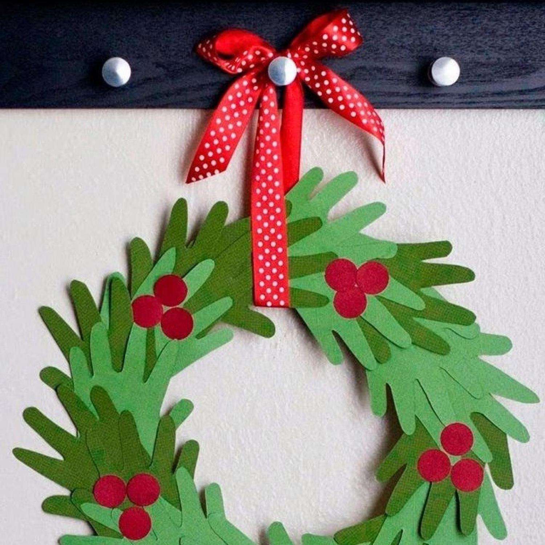 Weihnachtsbasteln mit Kindern - Weihnachtskranz selber machen