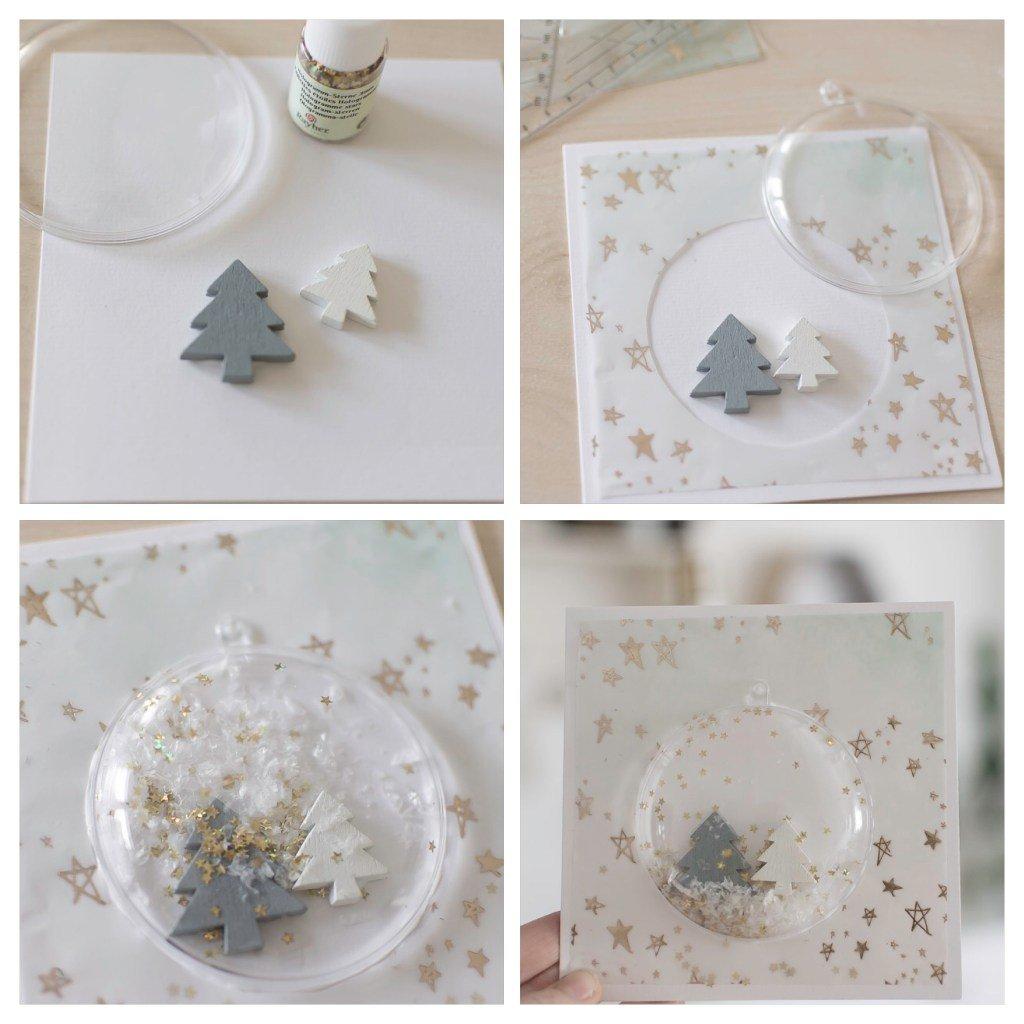 Schritt für Schritt Anleitung für eine Weihnachtskarte mit Schneekugel