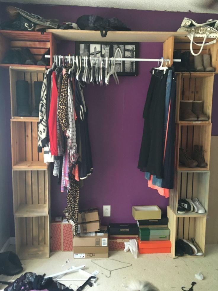 Garderobe und Schuhschrank selber bauen aus Holzkisten