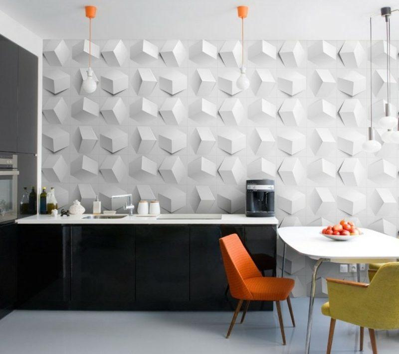 Wandgestaltung Küche moderne Wandpaneelen 3D Optik
