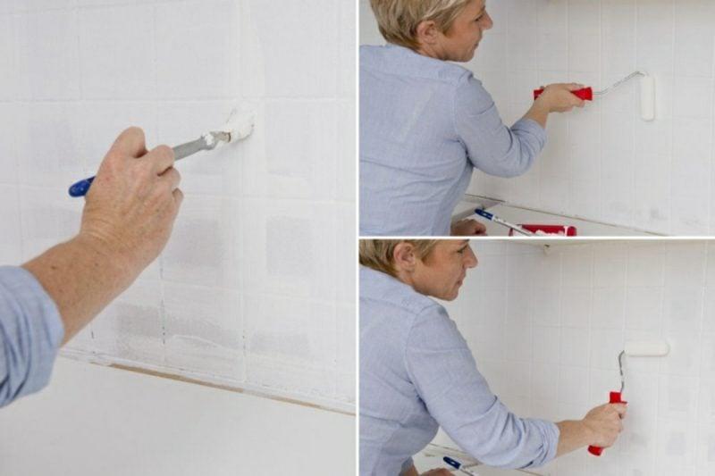 Wandfliesen Küche streichen in Weiss