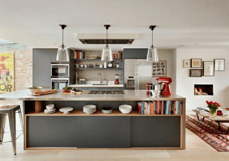 gemauerte Küche moderne Kücheninsel