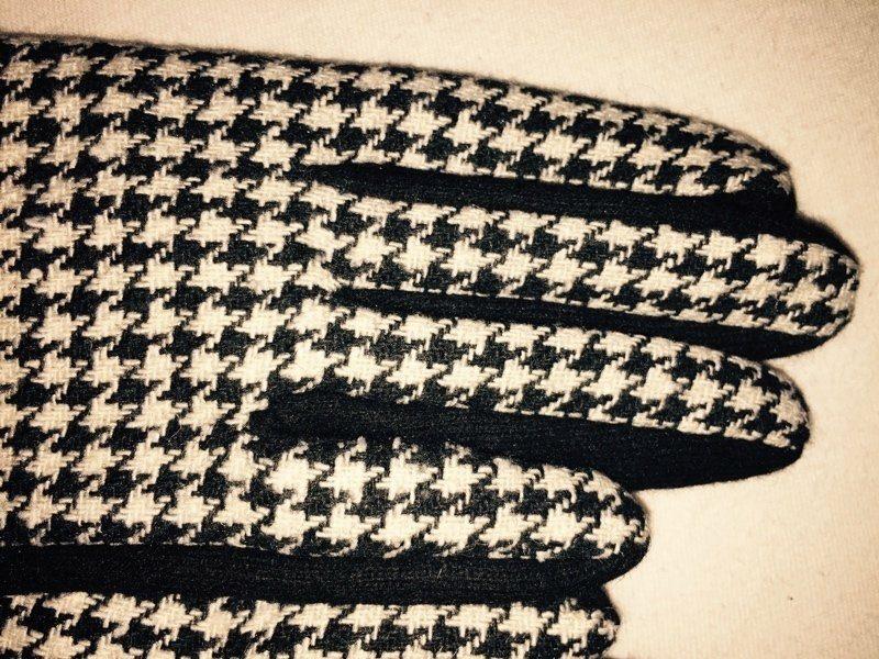 Karomuster Schwarz-Weiβ Hahnentritt Handschuhe