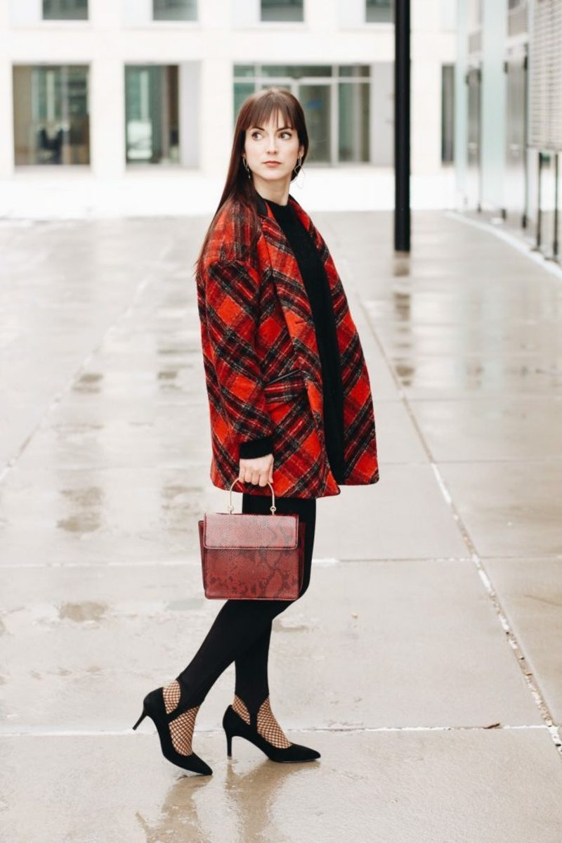 Modetrends Winter Karomuster Mantel elegant
