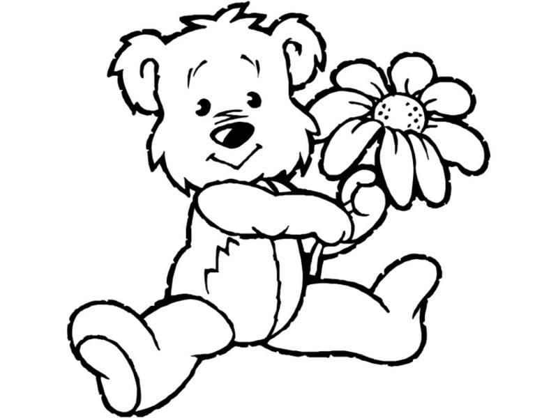 Tiere zum Ausmalen Bärchen und Blume