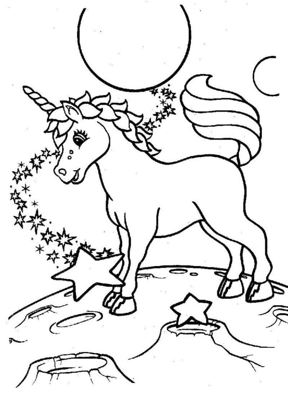 Malvorlagen Tiere Einhorn, Mond und Sterne