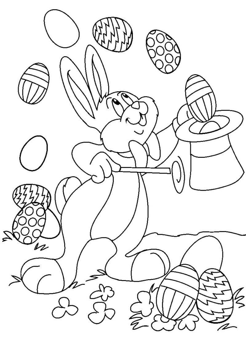 Ausmalbilder gratis Osterhase Zauberer