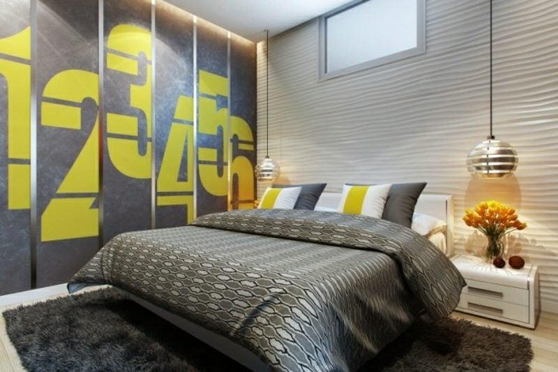 Wände gestalten Schlafzimmer 3D Wandplatten