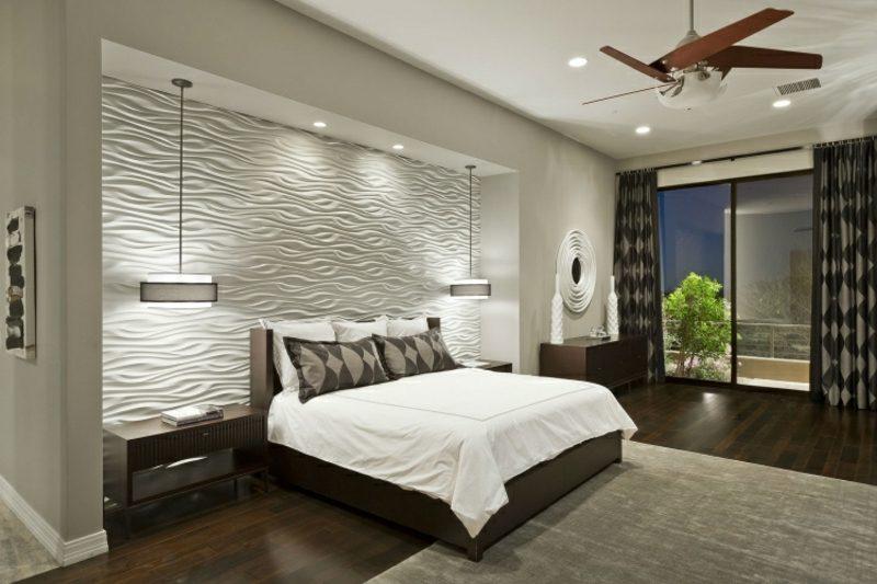 Wand streichen Ideen Schlafzimmer neutrale Farben 3D Wandplatten