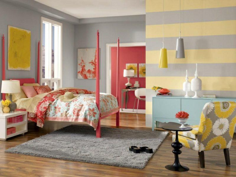Wandfarbe Grau Schlafzimmer tolle Farbkombinationen