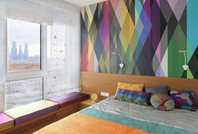 Schlafzimmer Ideen Wandgestaltung bunte Tapete