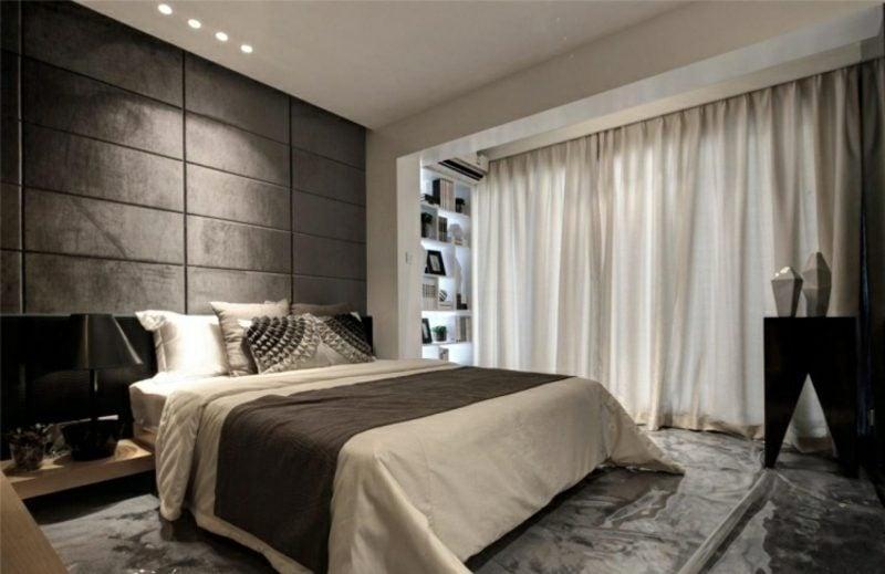 Schlafzimmer Ideen Wandgestaltung gepolsterte Wandpaneelen
